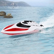 INTEY 128 Rc Boats 2.4G Remote Control Boat with 180 Flip Function, LCD Display, Double Hatch Waterproof Racing Boat for Pool & Outdoor Use