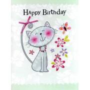 grote verjaardagskaart A4 - happy birthday - kat
