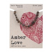 Baltic Amber Children's Bracelet - Olive Love 14cm