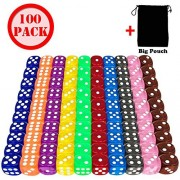100 Pieces Game Dice Set - 10 Different Colors 16mm Acrylic Colored Dice translucent for game Bunco Farkle Yathzee Tenzi or Teaching Math,FREE Velvet Carry Bag
