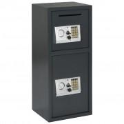 vidaXL Seif digital cu ușă dublă, gri închis, 35x31x80 cm