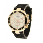 Ernest horloge rosé zwart met zilvere plaat