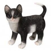 Geen Polystone tuinbeeld zwart/witte katten/poezen kitten staand 20 cm