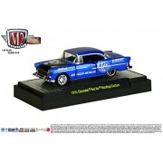1955 Chevrolet Bel Air Hardtop Custom (Satin Blue W/Semi Gloss Black Hood) * Auto Mods Hobby Exclusive Release S18 * M2 Machines 2015 Castline 1:64 Scale Die Cast Vehicle (32600 S18 B)