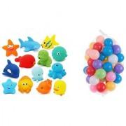 Neo Rising Entertaining Colorful Bath Toys. (5 Squeezing Animals 12 Balls. Multicolor Animals Balls)