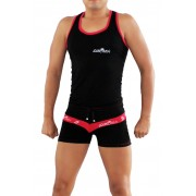 Icker Sea Two Tone Matching Tank Top & Boxer Brief Set Black/Red COR-16-01