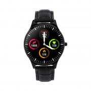 W68pro Leather Strap Smart Wristband Bracelet Watch Fitness Tracker Blood Pressure Heart Rate Monitor - Black