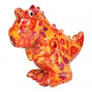 Pomme Pidou Spaarpot dinosaurus oranje met peace teken 17 cm