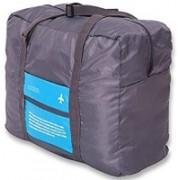 ShopAis Happy Flight Folding Waterproof Multipurpose Travel Bag(Blue, Grey)