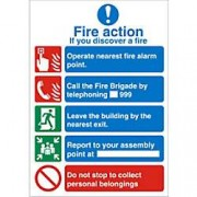 Unbranded Fire Sign Fire Action Vinyl 30 x 20 cm