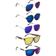 NuVew Aviator, Rectangular, Round, Retro Square Sunglasses(Blue, Blue, Golden, Green, Blue, Violet)