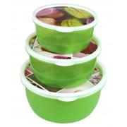 Caserole plastic rotunde cu capac colorat 3buc/set (13,16,19cm)