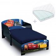 Set pat cu cadru din lemn Disney Cars Team si saltea pentru patut Dreamily - 140 x 70 x 10 cm