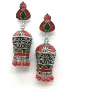 Digital Dress Women's Oxidized Earrings Indian Traditional Light Weight Red & Green Enamel work Jhumki Beautiful New Style Silver-Plated Stud Earring for Women & Girls Fashion Imitation Jewellery