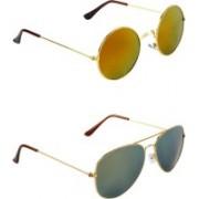Abner Round, Aviator Sunglasses(Multicolor)