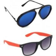 Hrinkar Wrap-around Sunglasses(Blue, Grey)