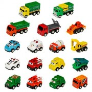 Toy Car Construction Vehicles Trucks Mini Push Pull Back And Go Car Toy truck Play Set toys 17 Pcs For Kids Boys girls over 3 years