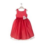 【83%OFF】シルク フラワーモチーフ 配色 ノースリーブドレス レッド 6a ベビー用品 > 衣服~~ベビー服