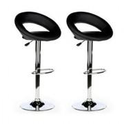 Hjh Lotto di 2 sgabelli RONDO, design unico ed alta qualità, in pelle color nero