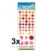 Merkloos 3x Kinder bloemen stickers - Stickers