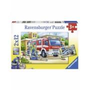 Puzzle Politie Si Pompieri, 2X12 Piese Ravensburger
