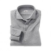 Ingram jersey overhemd met pied-a-poule patroon, 45 cm - grijs/wit