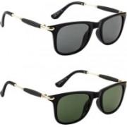 Honey Boney Retro Square Sunglasses(Black, Green)