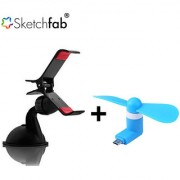 Sketchfab Combo of Universal Car Mobile Holder Single 360 Degree Rotating V8 Micro USB OTG Fan for OTG Supported - Assorted Color