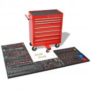 vidaXL Количка за инструменти с 1125 инструмента, стомана, червена