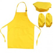 OUNONA Kids Chef Set Complete Kids Kitchen Gift Playset with Chefs Hat Apron and Cooking Sleeve for Cooking Baking Painting Decorating Party (Yellow)