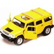 2008 Hummer H2 SUV, Yellow - Kinsmart 5337D - 1/40 scale Diecast Model Toy Car