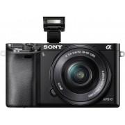 Sony Systemkamera E-Mount Sony ILCE-6000LB SEL-P16-50 mm Standard-Zoomobjektiv 24.3 Megapixel Svart Full HD Video, WiFi, Vrid-/svängbar display, Blixtskon, Elektronisk sökare