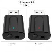 lyndeluxe LynDirect Adaptador USB Bluetooth 5.0 2 en 1, receptor USB/transmisor Bluetooth, adaptador de audio para el hogar/coche/ordenador portátil Bluetooth Dongle, entrada AUX 3.5 mm Jack, Denoise HiFi Music