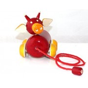 GIFT TRENDS HAND MADE WOODEN COW PULL ALONG - RED