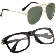 Phenomenal Aviator, Wayfarer Sunglasses(Green, Clear)