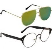 NuVew Round, Retro Square Sunglasses(Clear, Golden)