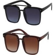 Fashno Wayfarer Sunglasses(Blue, Brown)