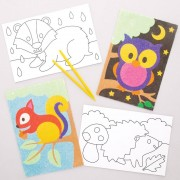 Baker Ross Forest Animal Sand Art Pictures - 8 Colourful Sand Picture Kits. Sand Art For Kids. Size 19cm x 13cm.