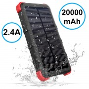 Outxe Savage QC Waterproof Solar Charger / Power Bank - Black / Red