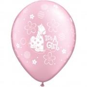 "Baloane latex 11"" inscriptionate It's A Girl Soft Pony Pearl Pink, Qualatex 14515"