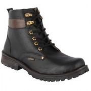 Austrich Men's Black leatherette Combat Boot