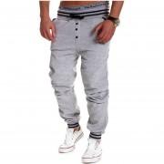 Botón De Hombres Volar Drawstring Emparejador Contraste Pantalones De Chándal (gris)