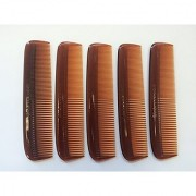 GBS Professional Grooming Comb - 5 Unbreakable Tortoise Coarse/Fine Pocket Comb - 5 pack