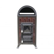Soba teracota premontata Premium 3R, pe lemne, carbune, brichete, 6,1 kW, rama cu bolta si usa cu sticla, 89x48x37,5 cm