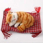 Uniqus Lovely Simulation Animal Doll Plush Sleeping Cats Toy Cat Mat Doll Decorations Stuffed Toys Car Decoration Crafts, Mat Size: 19 * 13cm, Cat Size: 14 * 11cm