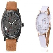 Curren Black Dail and Mxre White Women Couple Watches for Men and Women