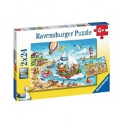 Puzzle Ravensburger - Holidays at the Sea, 2x24 piese (07829)