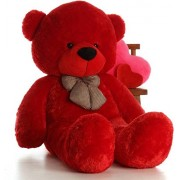 Multi Soft Fabric India Kid's 3 Feet Jumbo Teddy Bear Stuffed Soft Push Toy, Good Quality Fabrics (Red)