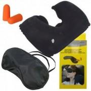 Set masca de dormit dopuri de urechi si perna gonflabila pentru somn linistit in timpul calatoriilor