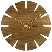 Velké dubové hodiny VLAHA ORIGINAL vyrobené v Čechách se zlatými ručkami VCT1030